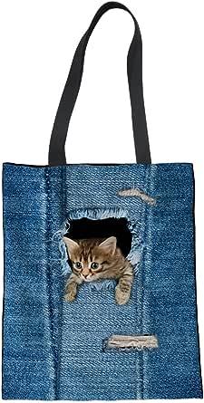 Showudesigns Bolsa de la compra de lino de la lona del gato del drama del perro