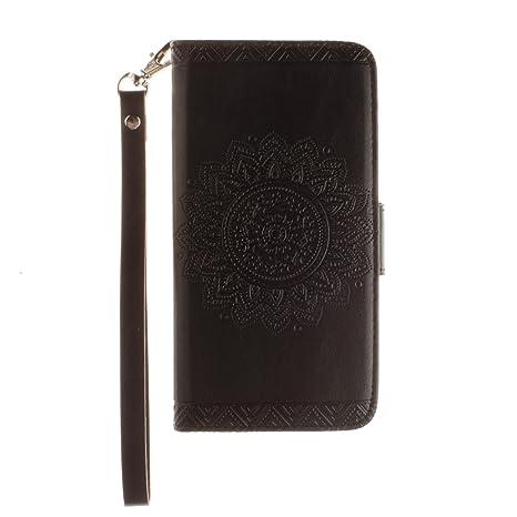 ISAKEN Funda para Samsung Galaxy S5, Cartera Fundas de PU Cuero Leather Wallet Case Carcasa Funda con Portátil Correa función de Soporte para Samsung ...
