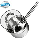 Sauce Pan, CUSIBOX 2 Quart Premium Stainless Steel Saucepan with Lid Cover, Induction Compatible Covered Sauce Pot Cookware