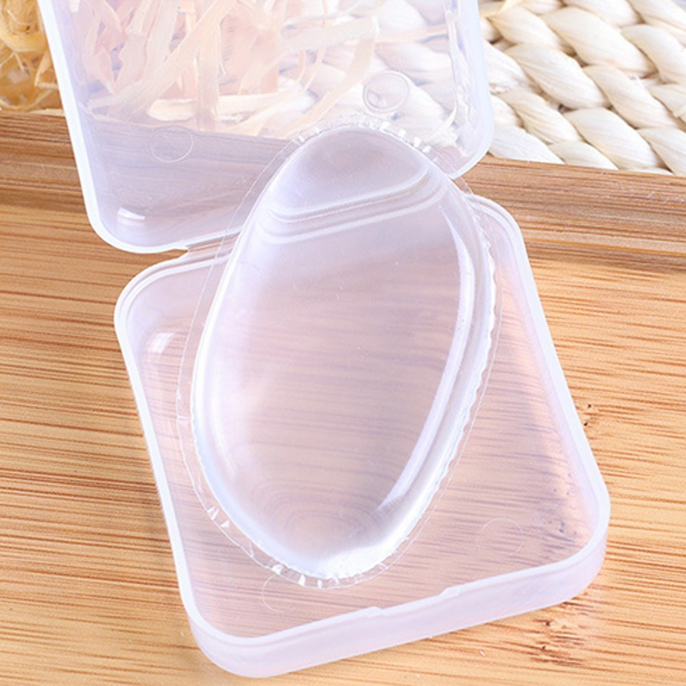 Arpoador silicona maquillaje esponja Powder Puffs Puffs de maquillaje de silicona transparente con funda