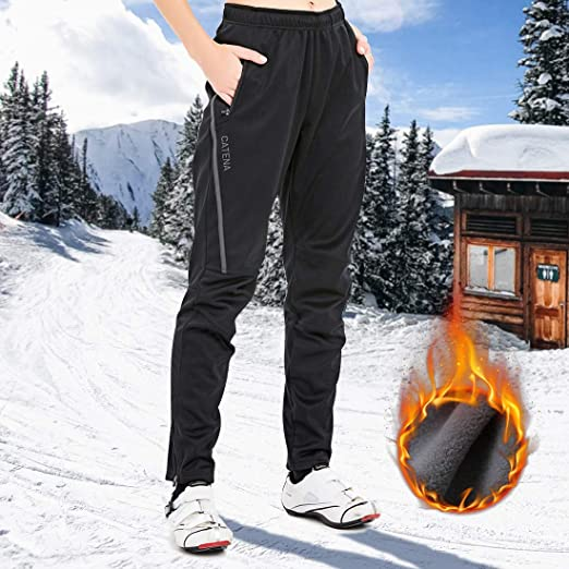 CATENA Womens Winter Cycling Trousers Waterproof Windproof Outdoor Sport Pants Fleece Thermal Athletic Long Pants for Snow Running Hiking