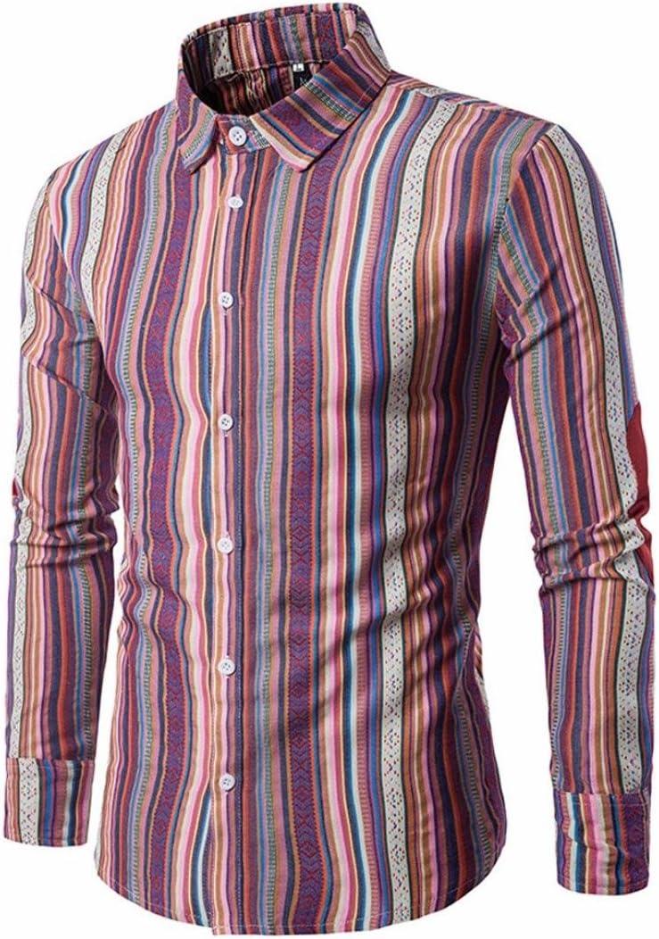 Xinxinyu Camiseta para Hombre, Hombres {Slim Fit Camisa} {Manga Larga Jersey Sudadera Top té} {Rayas botón Blusa}, Rojo, Large: Amazon.es: Hogar