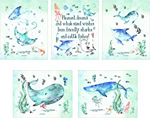 Arts Mythical Whale-Sized Wishes! Sea Creatures Wall Art Five Piece 8x10 Print Set! Kids Room Decor Bundle, Childs Room Wall Art