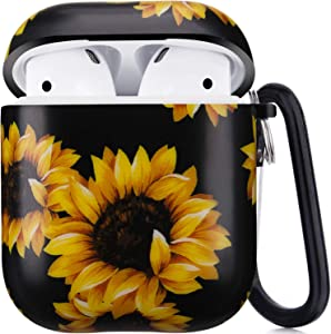 Airpods Case, Airpods Protective Hard Case Cover with Keychain Compatible with AirPods 2/1 Cute Girls Men Durable Shockproof Anti Lost Case for AirPods Charging Case (Sunflower)