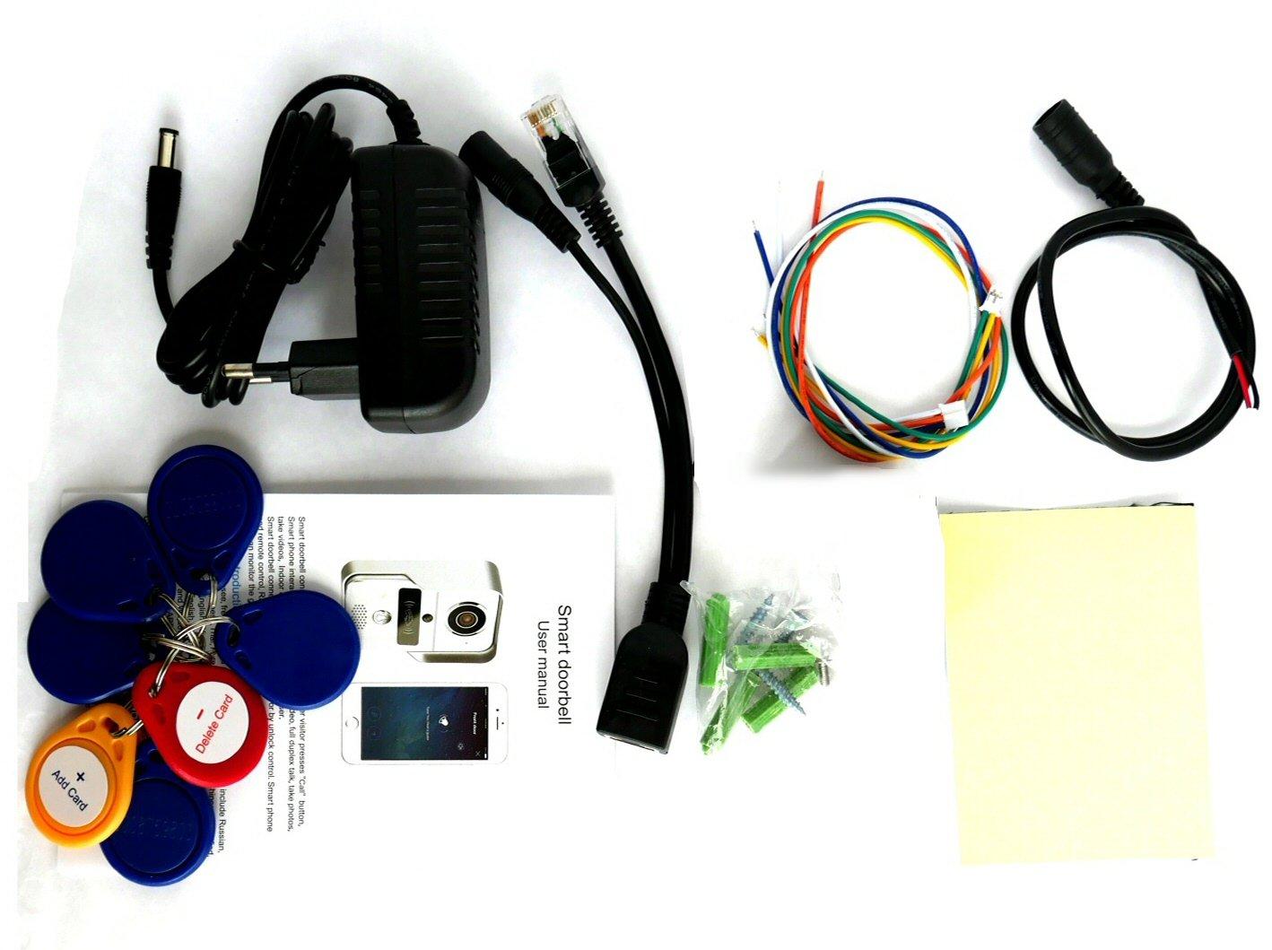 lecteur RFID Sonnette 433Mhz Portier audio et vid/éo KONX 720p Wi-Fi d/étecteur de mouvement