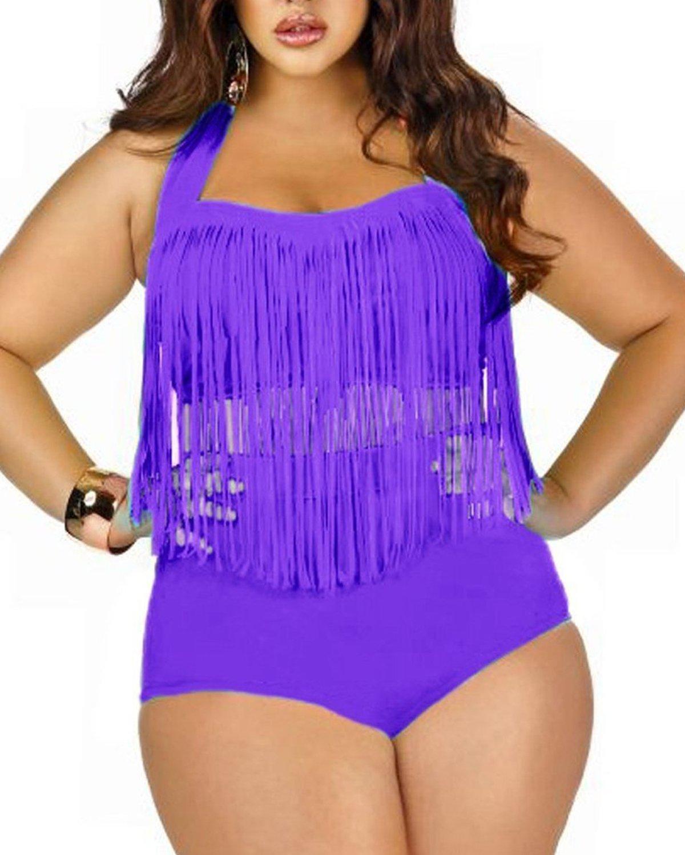 Spring Fever Plus Size Retro High Waist Braided Fringe Top Bikini Swimwear for Women MNSUAS0386G0000