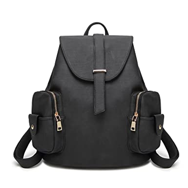 e656b5682a7a Amazon.com  100% Waterproof Leather Casual Backpack for Women- Fashion  Shoulder Bag for Girl with Multifunction and Anti Theft(Black)  Clothing