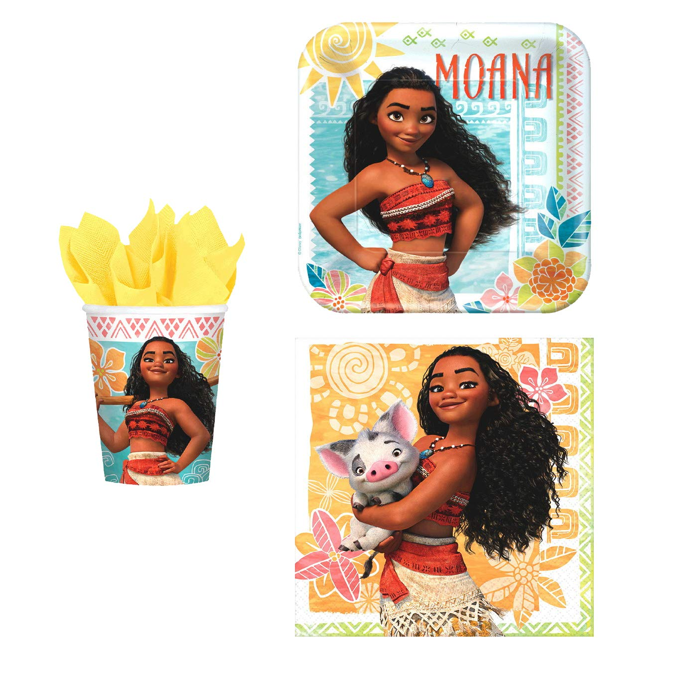 Napkins Disney Moana Themed Party Supplies Plates Cups and Stickers Disney Moana Party Pack Seats 8