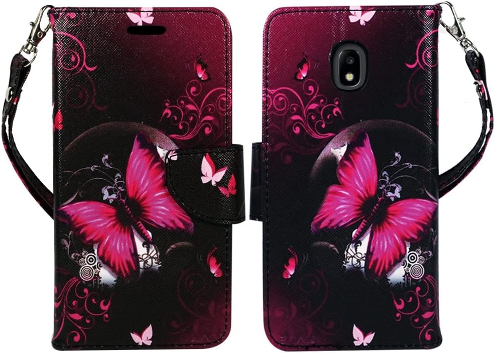 ZASE Design Wallet Protective Case for Samsung J7 2018, J7 Refine, J7 V 2nd Gen, J7 Star, J7 AERO, J7 TOP Premium PU Leather Flip Cover w/[Kickstand] ID Pocket [Wrist Strap] (Hot Pink Butterfly)