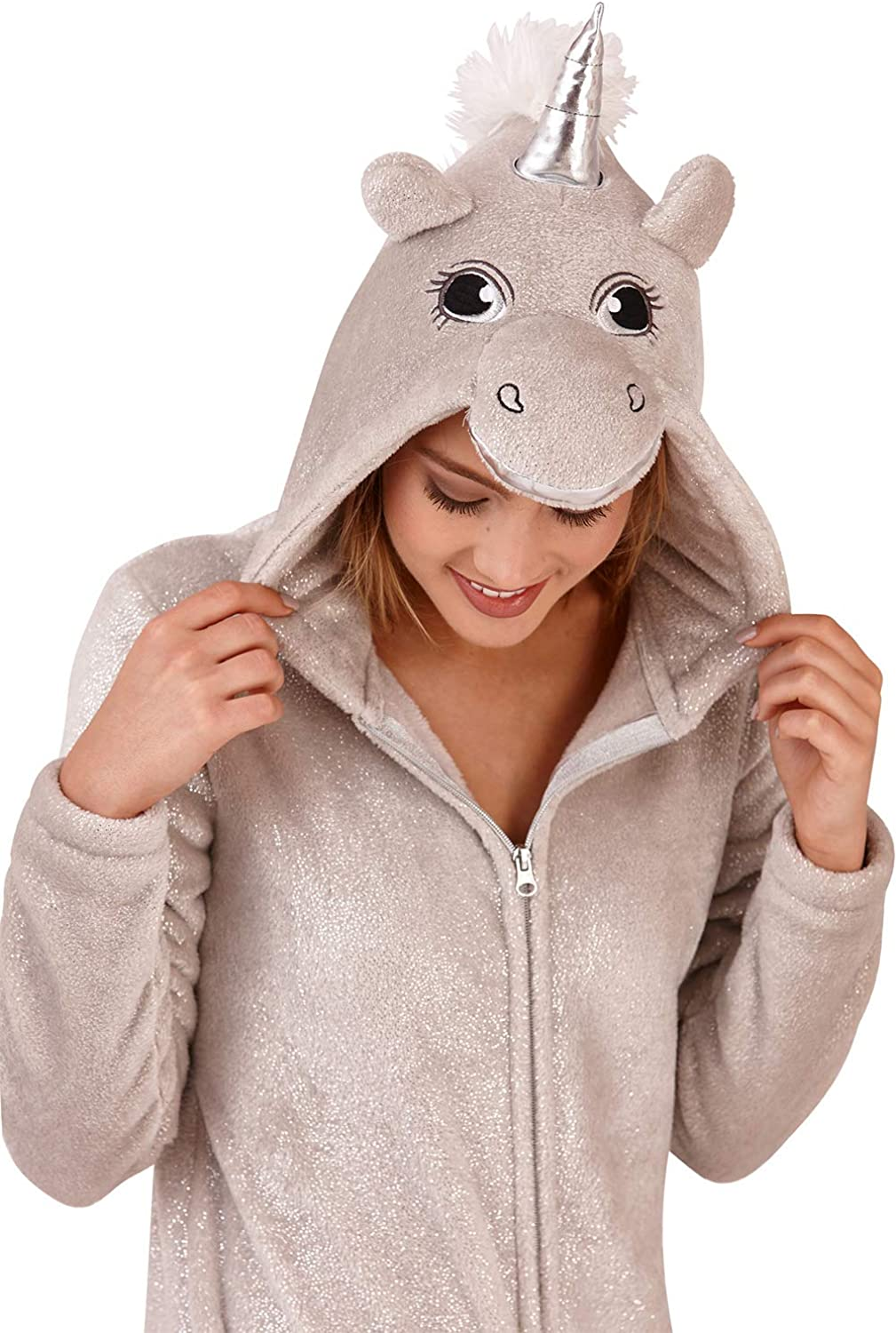 UK 16//18 GladRags/® Womens Ladies Girls 3D Sparkly Silver Unicorn Hooded Onesie All in One Suit Nightwear Size Large UK 16-18 Silver Sparkle Unicorn Onesie, Large