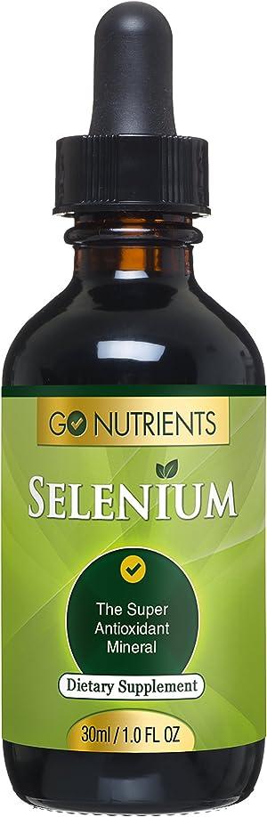 Go Nutrients Selenium 200 mcg Supplement - Yeast Free Liquid Drops - Helps Support Thyroid Health, Fight Free Radicals & Boost Immune System - 1 oz Bottle