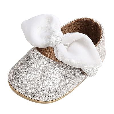 32fe4fa833594 Minuya Chaussures Bébé Fille, Cuir Souple Antidérapant Bowknot Chaussures  Princesse Chaussures Premiers Pas Bébé Fille Mary Jane Flats 0-18 Mois