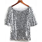 JEYKAY Glistening Sequin Cocktail Club Party Top Shimmer Glam Glitter Plus Size T-Shirt