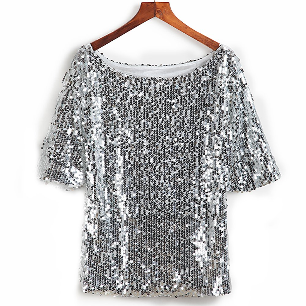 92e09e810bd Galleon - Glistening Sequin Cocktail Club Party Top Shimmer Glam Glitter  Plus Size T-Shirt (Silver