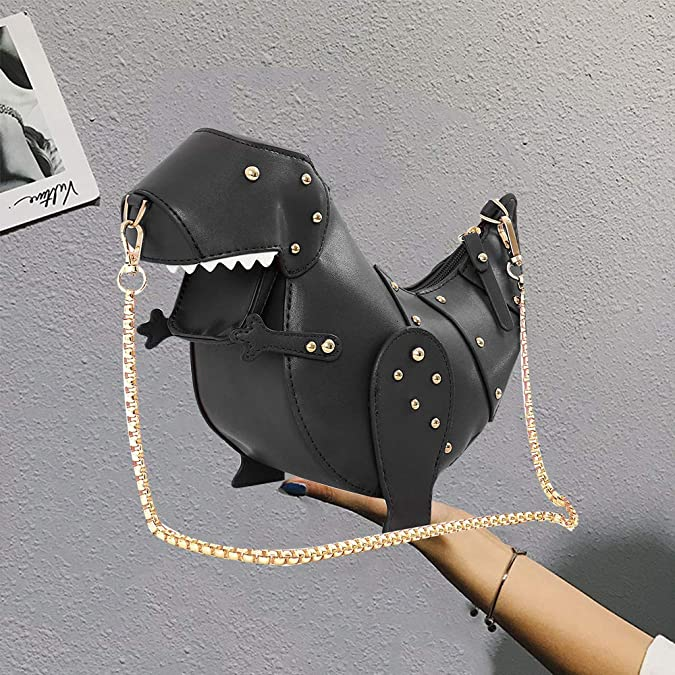 Women Cross Body Bag Dinosaur Shape Messenger Bag Handbag with Chains Pu  Leather Chic Clutch Purse (Black)  Amazon.co.uk  Shoes   Bags 38adf1da91206