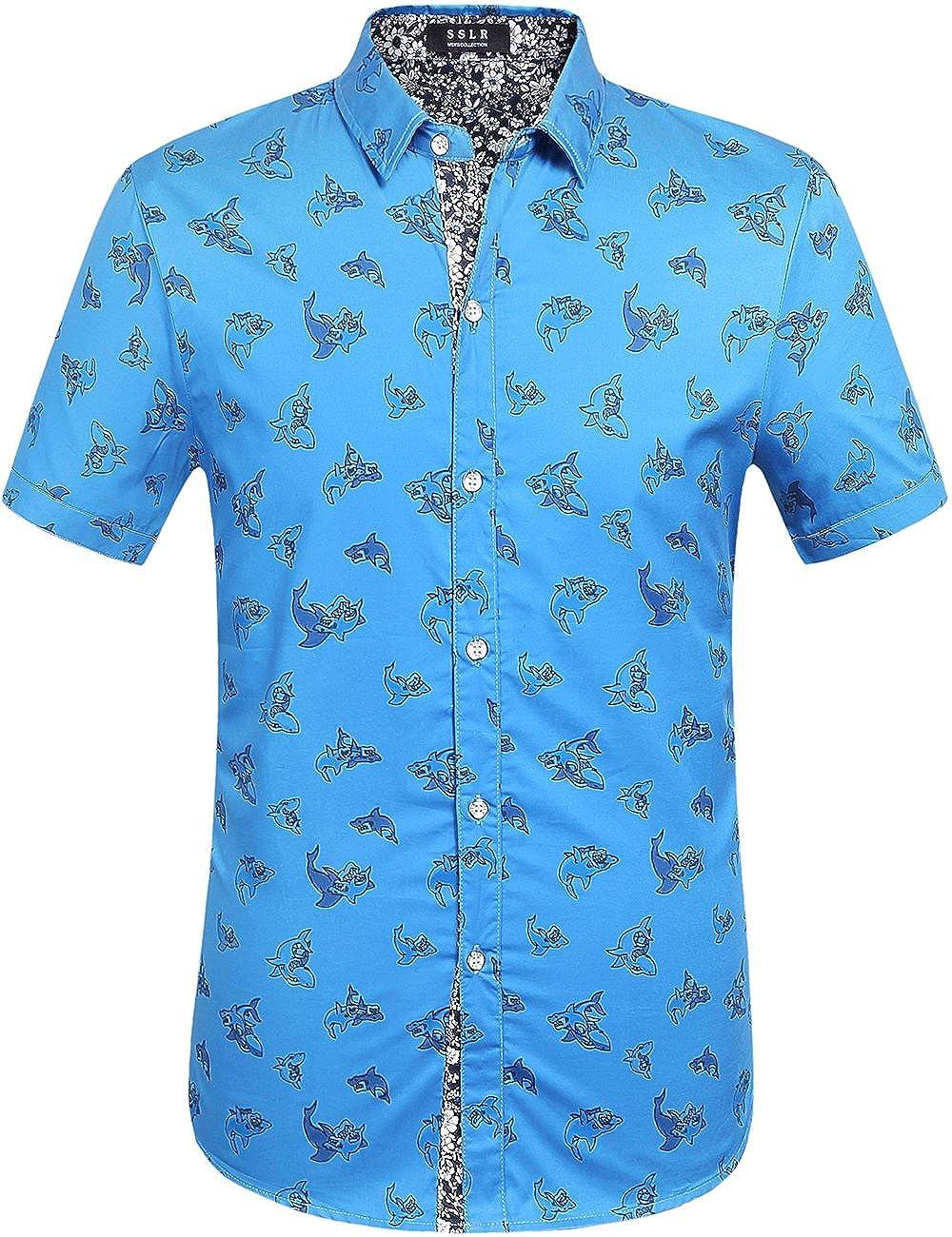 SSLR Camisa con Estampado de Tiburones Manga Corta de Algod/ón de Verano para Hombre