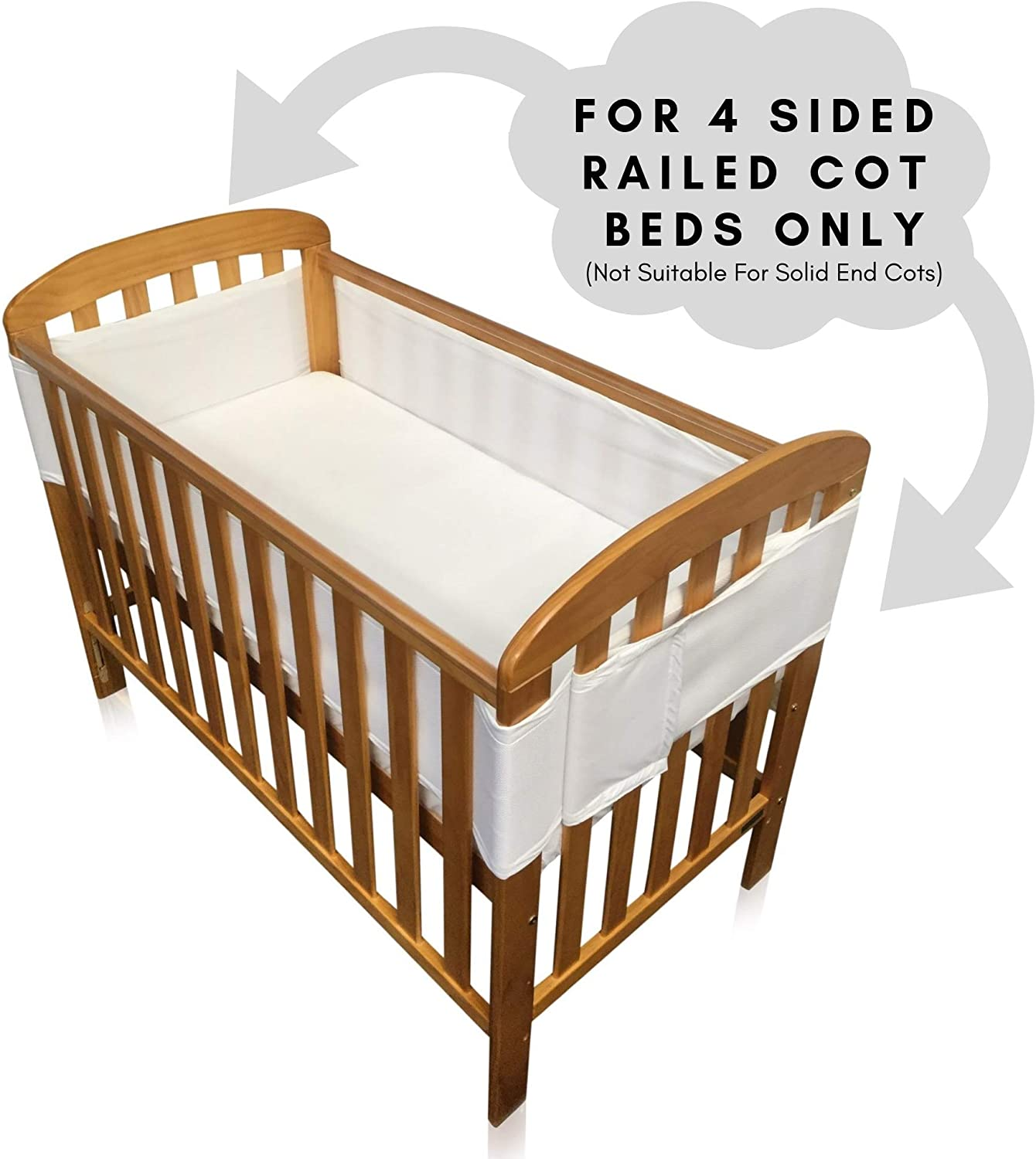 for Solid End Cots As Pictured Breathe Easy Air Mesh Solid End Cot Bed Liner Set 2 Sided Boys Nursery Cot Bed Bumper Blue 2 x Liners Each 150cm x 28cm