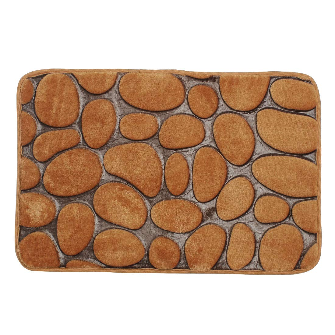 uxcell Bath Mat Rug 24'' x 16'' Flannel Fabric Memory Foam Fill Washable Non-Slip Absorbent for Bathroom Kitchen Door Shoe Rack Brown