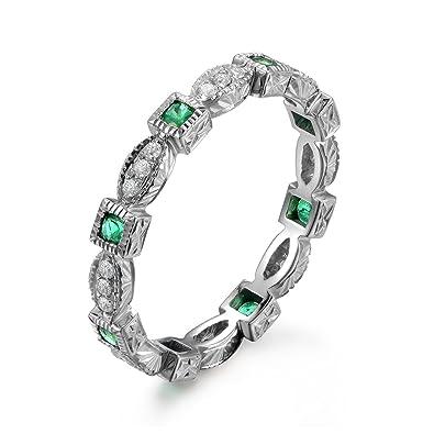 Emerald Wedding Band.Amazon Com Green Emerald Wedding Ring Full Eternity Milgrain