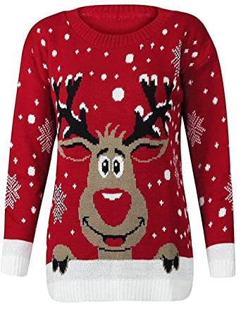 best website 80e71 de06a Fast Fashion Damen Weihnachtspullover Rudolph Drucken