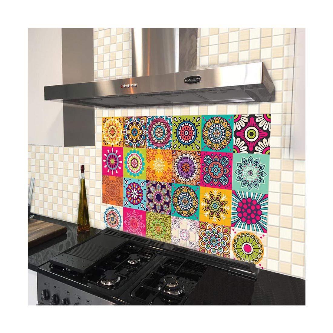 100yellow Vinyl Pvc Mosaic Wall Floor Tile Sticker 15 X 15 Cm Multicolour Amazon In Home Kitchen