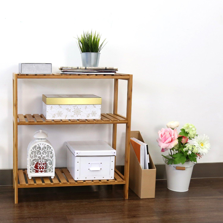 Kinbor Bamboo Rack Multifunctional Bathroom Kitchen Living Room Holder Plant Flower Stand Utility Storage Shelf 3-Tier