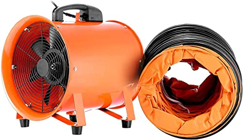 OrangeA Utility Blower 12 Inch 0.7HP 2295 CFM 3300 RPM Portable Ventilator High Velocity Utility Blower Fan Multifunctional Ventilator Fume Extractor with 5M Duct Hose 12 Inch Fan with Hose