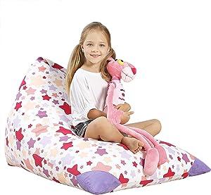 Aubliss Stuffed Animal Storage Bean Bag Chair - Plush Animal Toy Organizer for Kids, Girls and Children | Extra Large | 23 Inch Long YKK Zipper | Premium Cotton Canvas (NATA Star)
