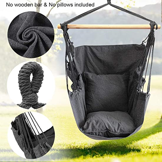 Hammock Chair Hanging Rope Swing Seat for Indoor Outdoor, Sturdy Cotton Weave Hammock Swing, Max 300Lbs Hanging Hammock Chair for Bedroom Patio Porch Gray