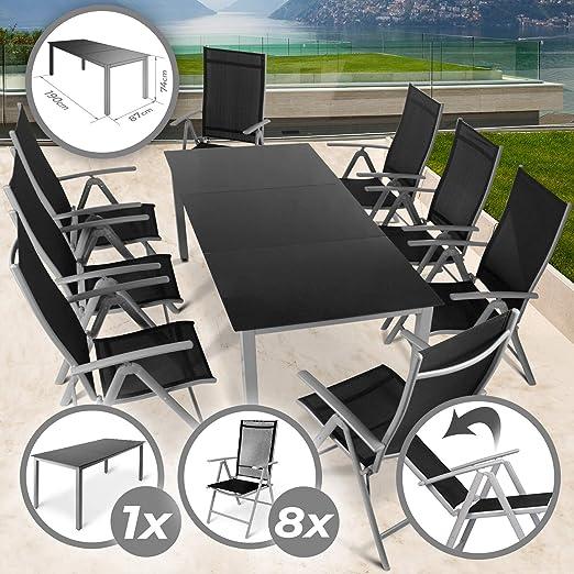 Miadomodo - Salon de Jardin Terrasse 9 Pièces en Aluminium 8 Chaises et 1  Table avec Plateau en Verre
