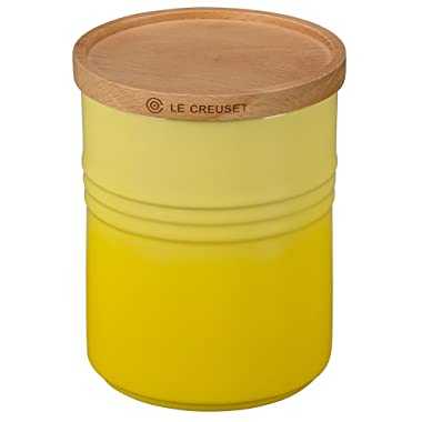 Le Creuset of America 5 1/2  Canister with Wood Lid, 2 1/2 quart, Soleil