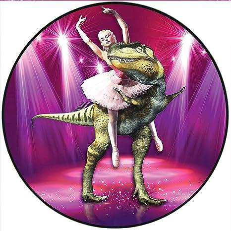 1878544509f2 Amazon.com: Short Plush Round Rug Ballerina Dancing with a Dinosaur ...
