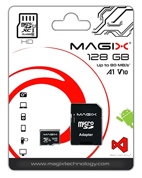 Micro SD Card MAGIX HD Series Class10 V10 + SD Adapter UP to 80MB/s (128 GB)