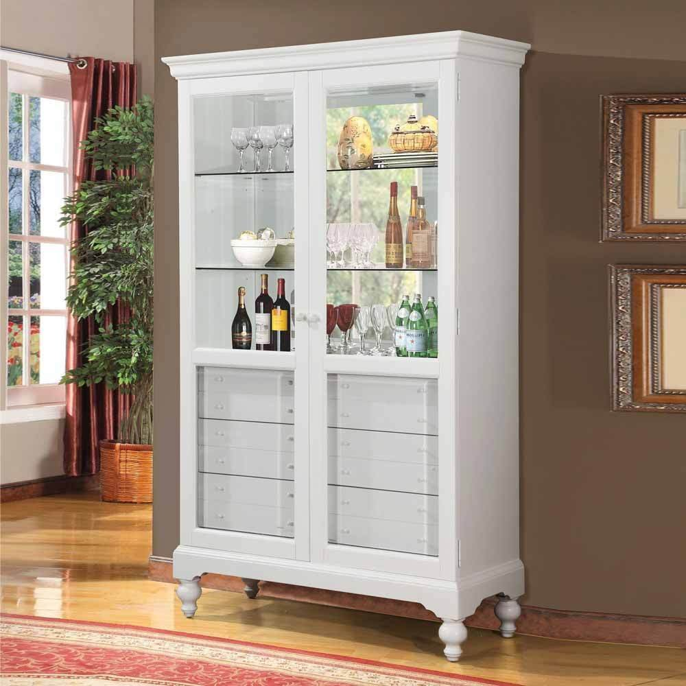 1PerfectChoice Traditional Curio Dining Cabinet Buffet Hutch 6 Storage Drawers Display White
