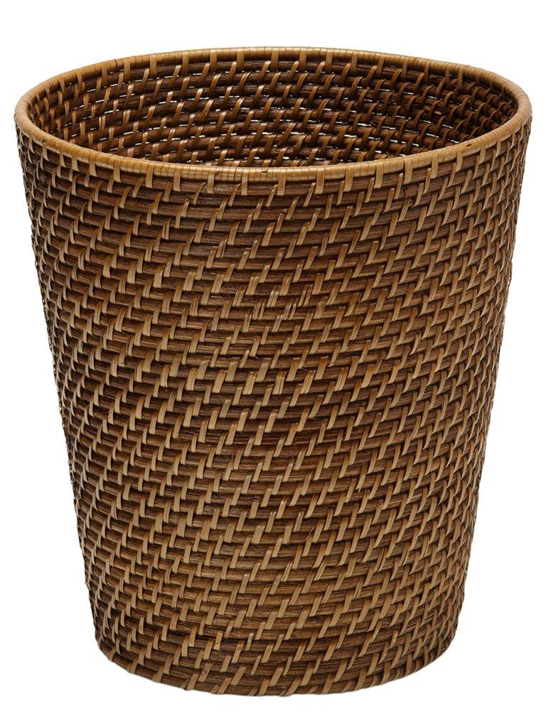 KOUBOO 1030011 Round Rattan Waste Basket, 10.25'' x 10.25'' x 11'', Honey Brown