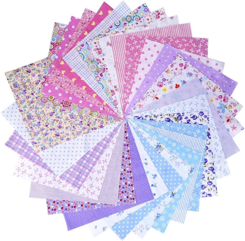 Purples and Lilacs 50 Patchwork Pieces 4 x 4 ins 10 cms Cotton.// Polycotton