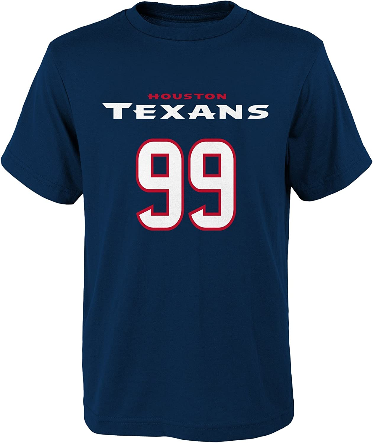 B00XLUYMF0 Outerstuff NFL J.J. Watt # 99 Youth Boys 8-20 Name & Number Short Sleeve Tee 71aanRlttVL