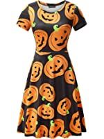 FENSACE Womens Short Sleeves Casual A-line Halloween Costume Pumpkin Dress