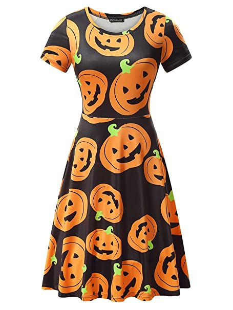 Halloween Schort.Fensace Womens Short Sleeves Casual A Line Halloween Pumpkin Dress