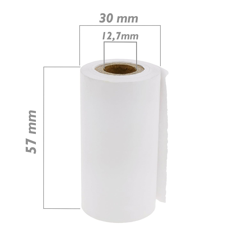 Cablematic PN19071618200174079 - BM06 Rollo de Papel térmico para Impresora TPV y Caja registradora, 57 x 30 mm, 10 Unidades, Blanco