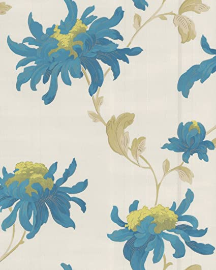Julien Macdonald Graham And Brown Luxury Vinyl Fabulous Floral Flower Glitter Wallpaper 10M Roll Pearl Teal
