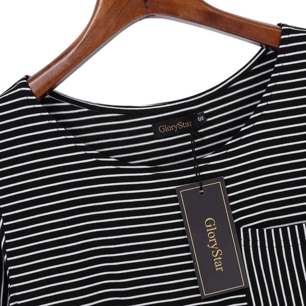GloryStar Womens 3//4 Ballon Sleeve Striped Elatic High Waist T Shirt Midi Dress with Pocket