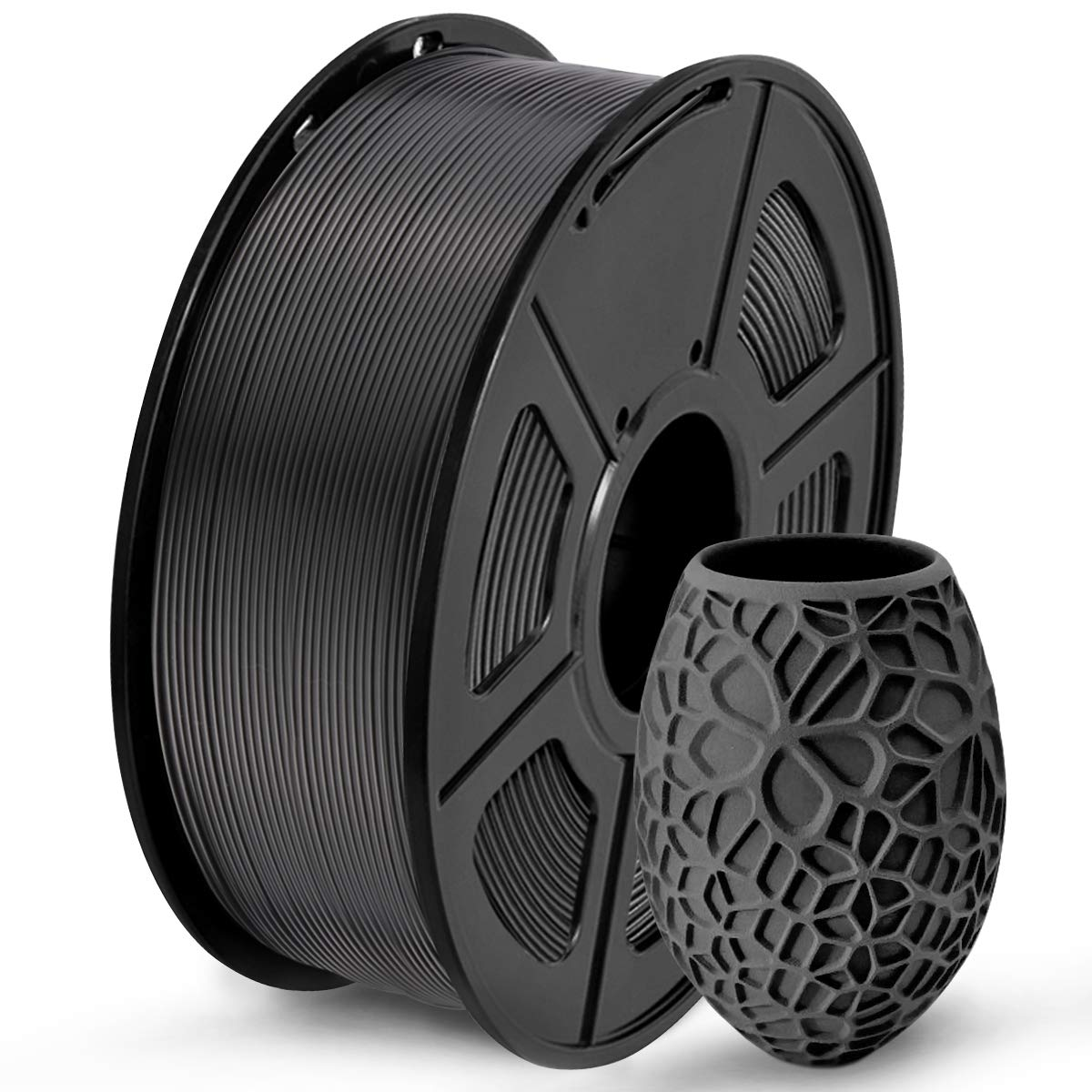 PLA 3D Printer Filament, SUNLU PLA Filament 1.75mm, Dimensional Accuracy +/- 0.02 mm, 1 kg Spool, 1.75mm, PLA Black