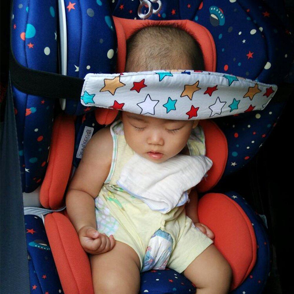 Newin Star Beb/é Soporte Cabeza,Soporte Seguridad de la Cabeza para ni/ños dormir en Coche Cochecito Seguridad Ajustable Suave para los Beb/és oveja