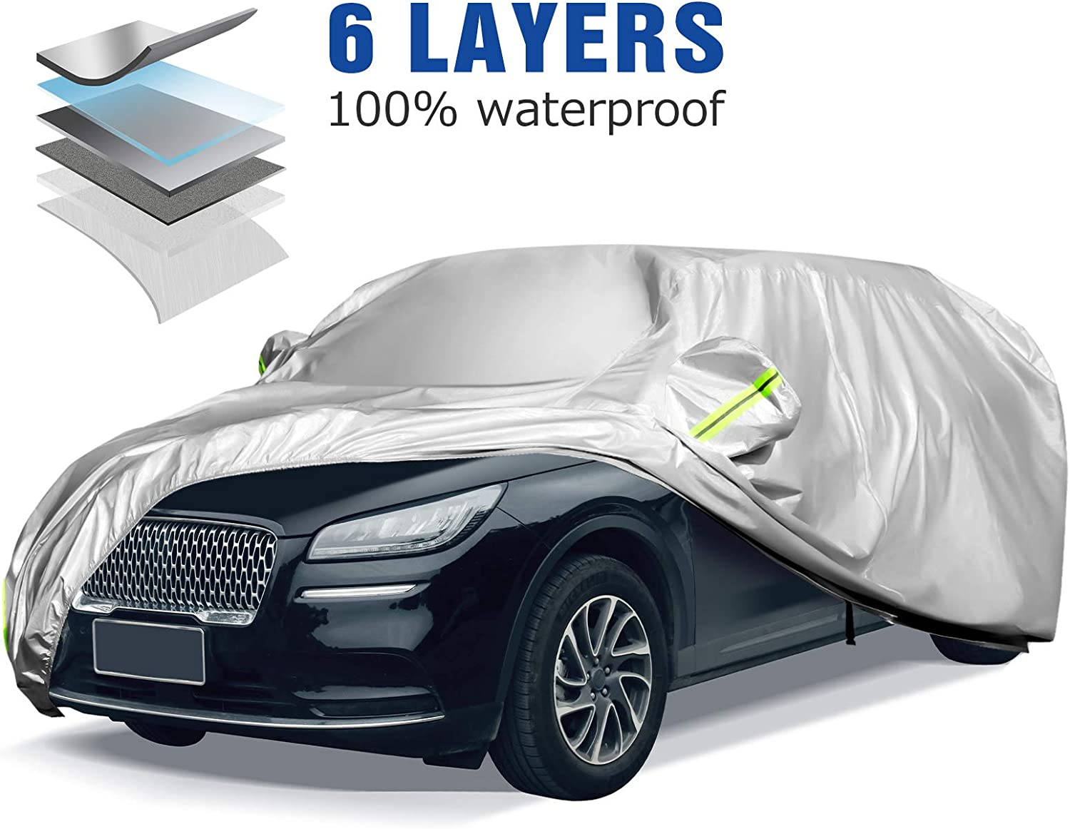 ELUTO SUV Car Cover Waterproof All Weather 6 Layers SUV Cover for Automobiles Outdoor Indoor Full Car Covers with Zipper UV Protection Windproof Dustproof Snowproof Hatchback Car Cover Up to 201