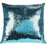 """Shimmer Square Throw Pillow in Teal, Add a marvelous burst of sparkle and shine to your décor, Measures 17"""" W x 17"""" L"""