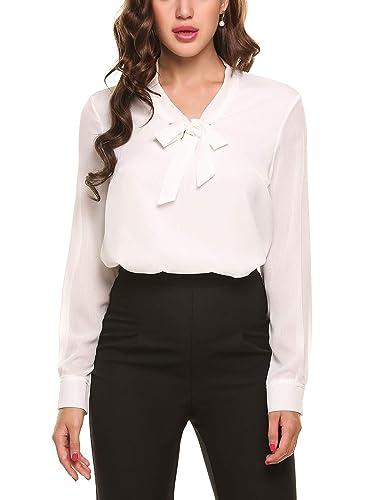Aimado T-shirt Camiseta Blusa romántica semitransparente de mujer de gasa blusa con corbata de lazo ...