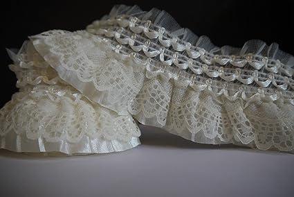 Amazon yards off white lace gathered elastic pleated satin