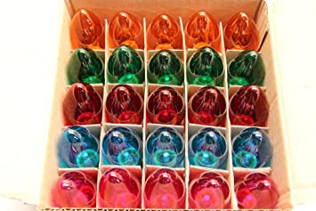 c 9 multi color light bulbs red green orange blue