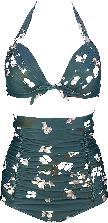 COCOSHIP Retro 50s Black Pink Blue Floral Halter High Waist Bikini Set Halter Carnival Swimsuit FBA